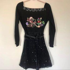 Desigual Black Floral Off Shoulder Belted Dress 6